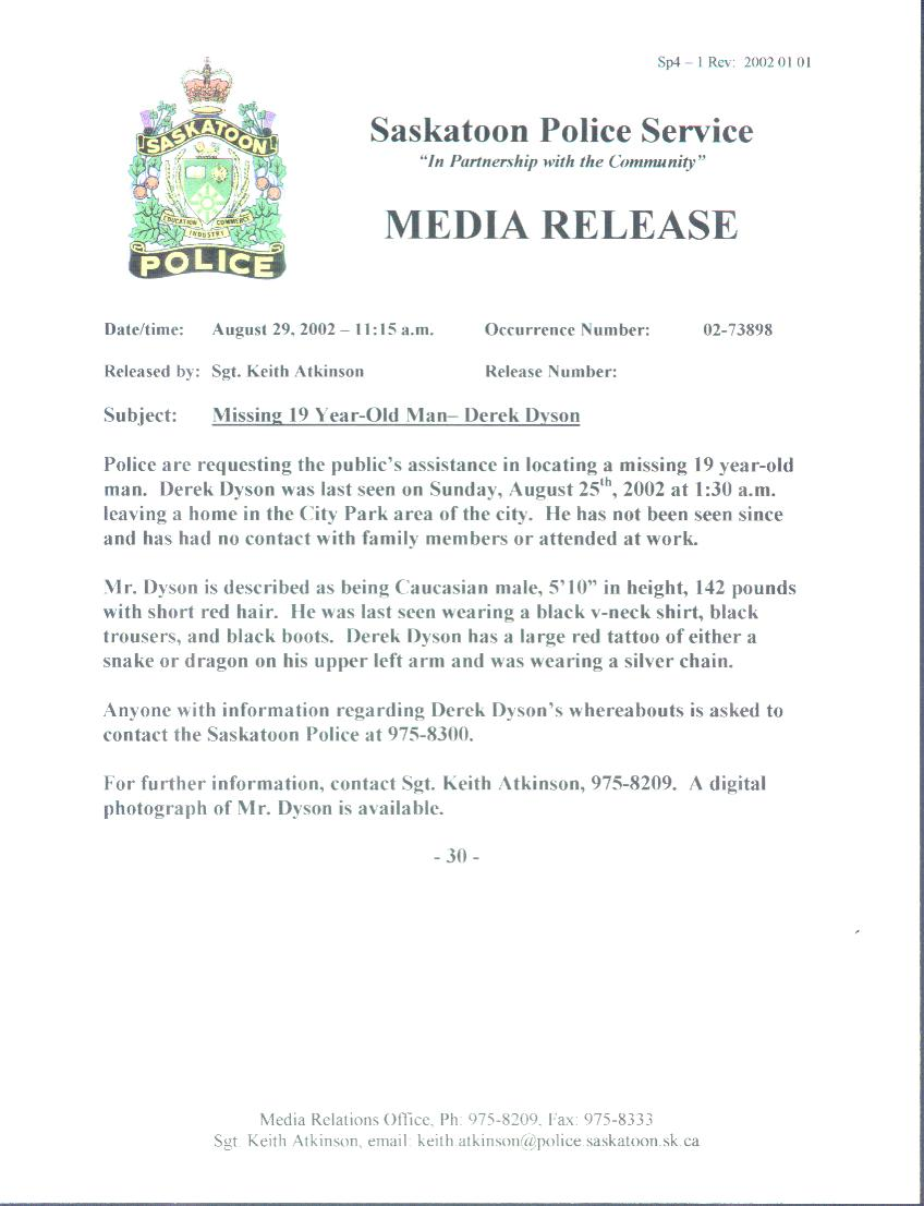 Police Media Release August 29, 2002